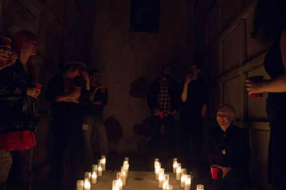 Gathering in a mausoleum at one of the cemetery events (photograph by Hannah Cao, I'm lurking at far right)